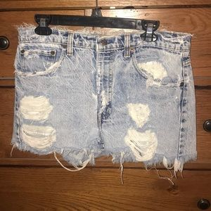 Levi's distressed high waisted jean shorts
